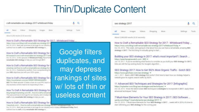 Don't use duplicate content on your website
